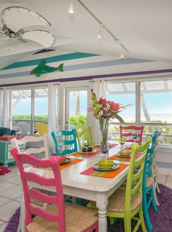 Lime Pink Purple Turquoise Cottage Dining Area Beach Cottage