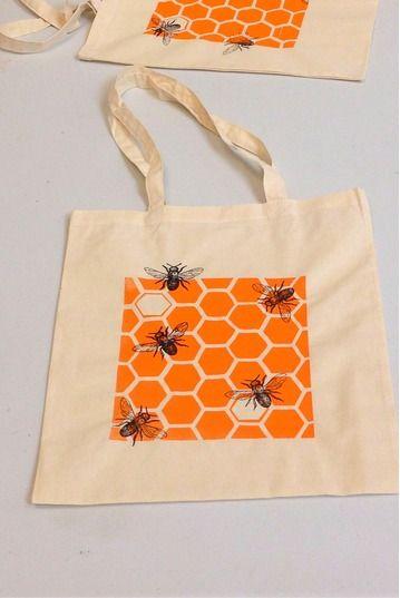 Learn to Screen Print a Tote Bag at Slamseys - honeycomb ...