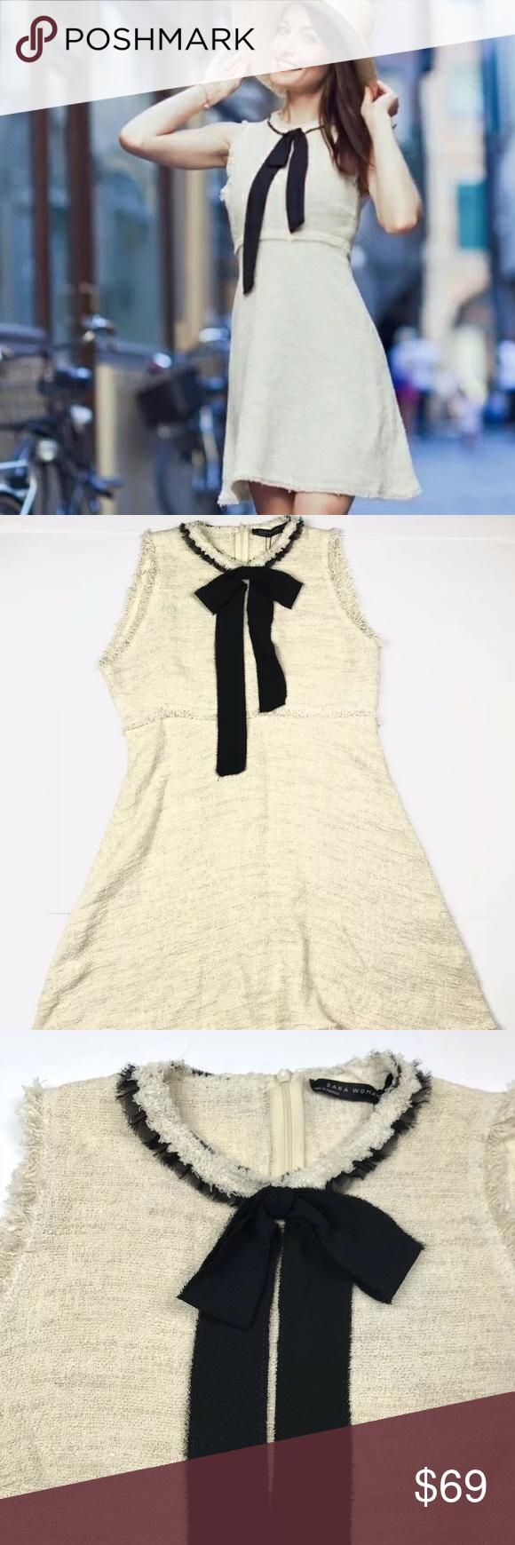 532f7203 Zara Tweed Mini Dress With Black Bow Tie large NWT Zara Womens Beige/Cream Tweed  Mini Dress With Black Bow Tie.Large. Zara Dresses