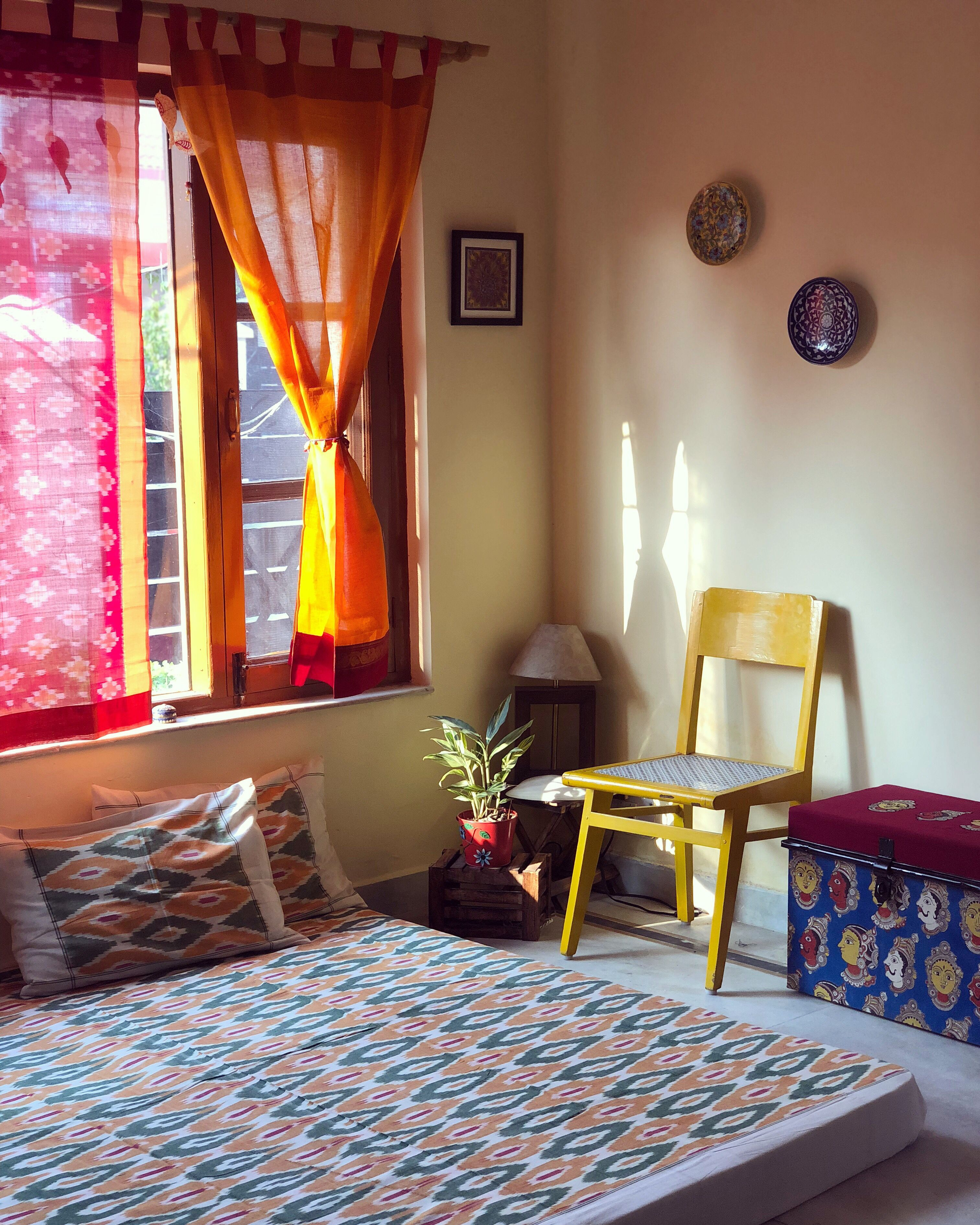 Being Creative With Old Sarees And Turning Them Into Curtains In 2020 Indian Bedroom Decor Indian Home Interior Indian Room Decor