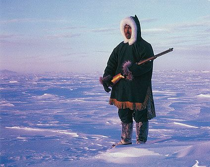 Photograph Of A Netsilik Inuit Man Wearing Traditional Hunting Often Worn While In The Extreme Cold
