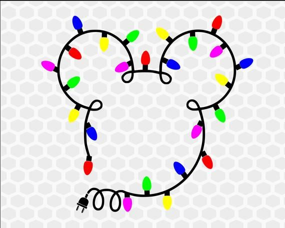 Mickey head with Christmas Lights SVG, Christmas Disney svg, Dxf, Eps, Png, Mickey's Christmas Party, Mickey's Very Merry Christmas