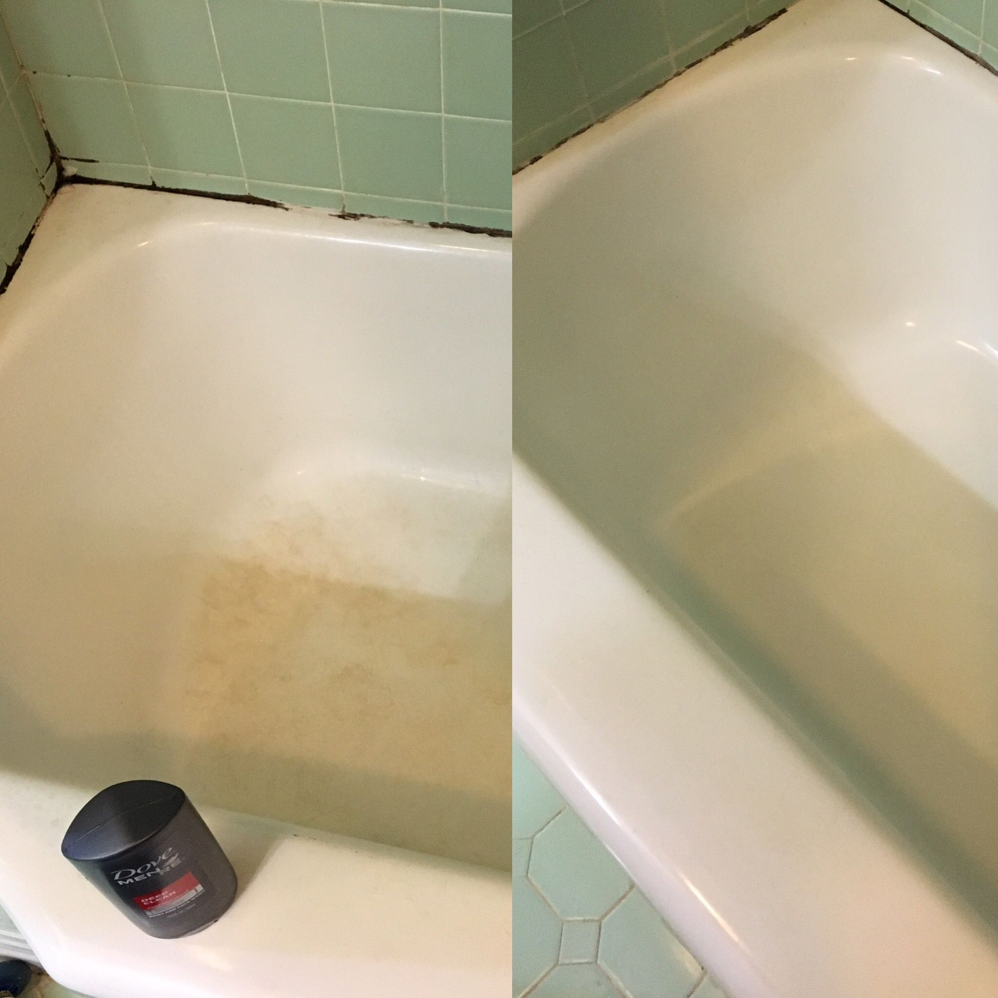 1950s Porcelain Tub Grout Cleaned W Barkeepers Friend And Brush Then Stains Removed Magic Eraser Mold Around Edges Is Behind The Caulk