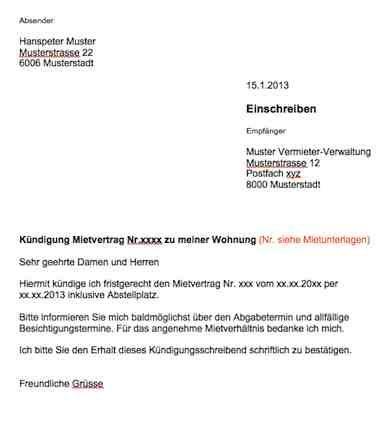 Vorlage Kündigung Wohnung Mietvertrag Schweiz Gratis Download