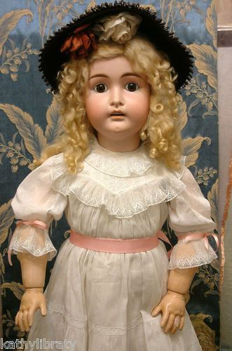 """35"""" Antique Kestner with a Blonde Mohair Wig and dressed in an Antique White Cotton Dress. Huge and Chunky. Another gorgeous antique doll from Kathy Libraty"""