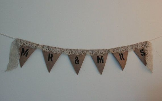 Vintage lace & burlap banner by glimfeathers on Etsy
