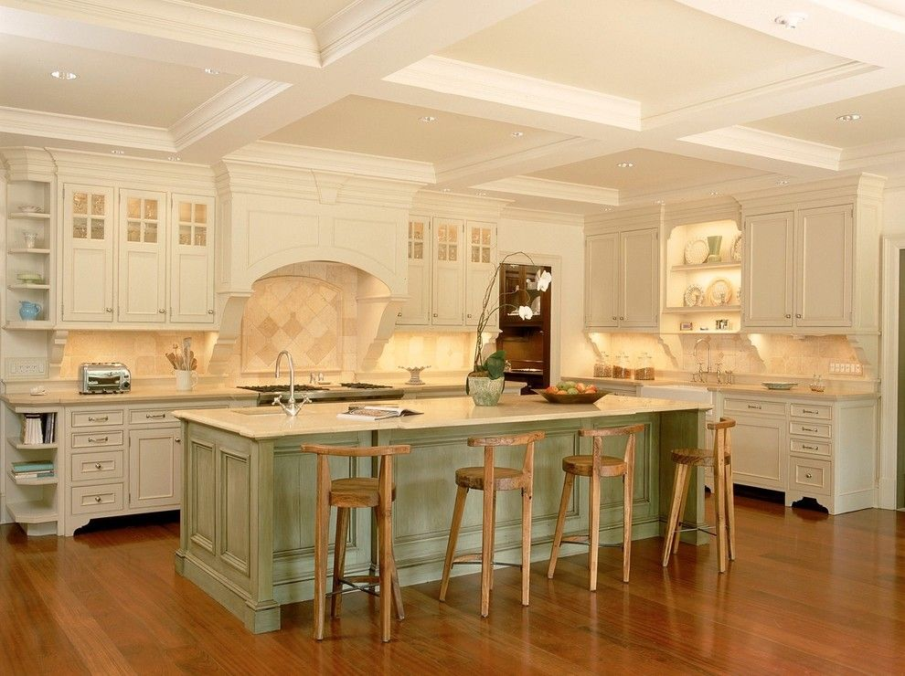 traditional off white kitchen coffered ceiling