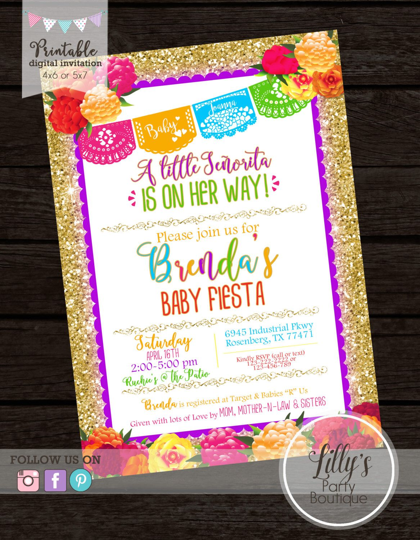 Mexican Fiesta Baby Shower Invitation, Fiesta Floral Gold Glitter  Invitation   YOU PRINT
