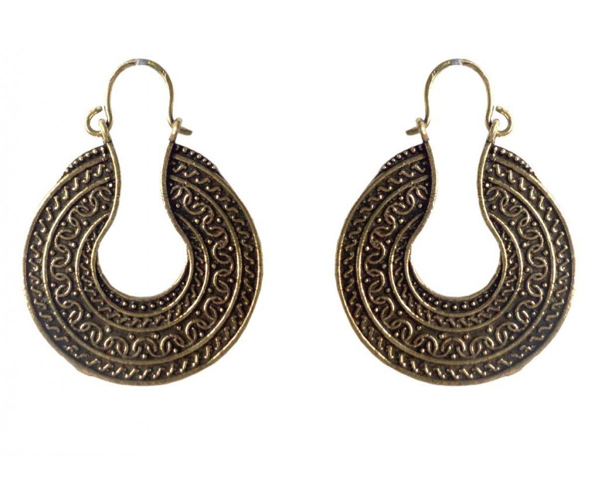 Ethnic Antique Egyptian Copper Golden Oxidized Earring For Women#prom