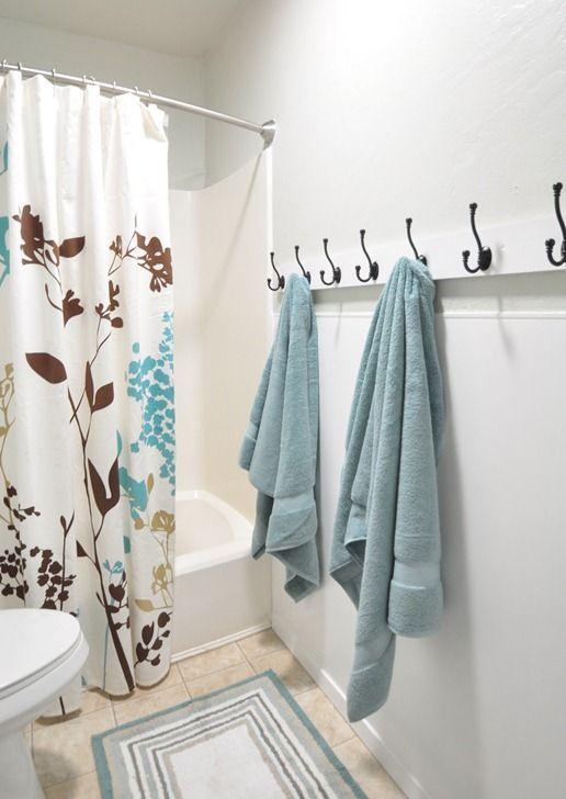 Hooks For A Kids Bathroom Instead Of A Towel Bar Makes It