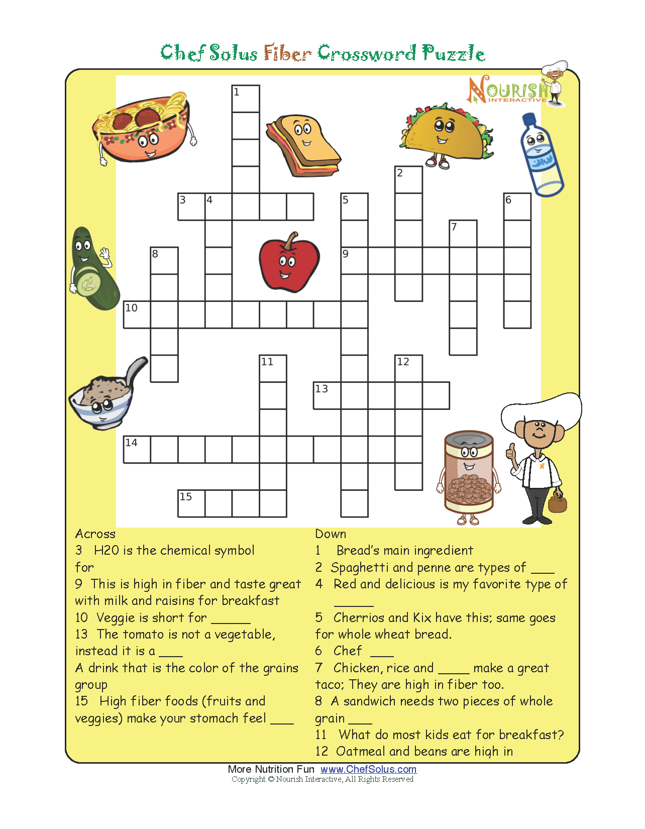 While Dinner Is Cooking Challenge Your Little Chefs To A Fun Crossword Puzzle About Foods
