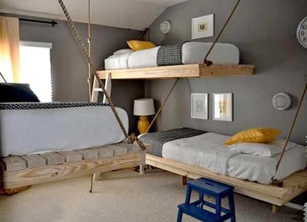 25 Hanging Bed Designs Floating In Creative Bedrooms Bunk Bed Designs Boy Bedroom Design Space Saving Bunk Bed