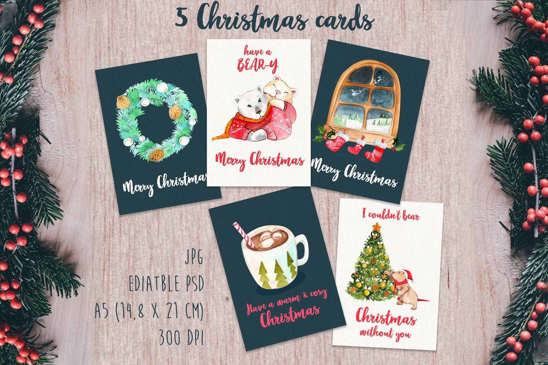 Christmas Bear Puns Christmas Card Templates With Bears Christmas Bear Christmas Card Template Bear Watercolor