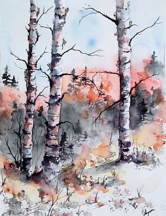 Watercolor Original Painting Maine Landscape Painting Aguarell Obrazy