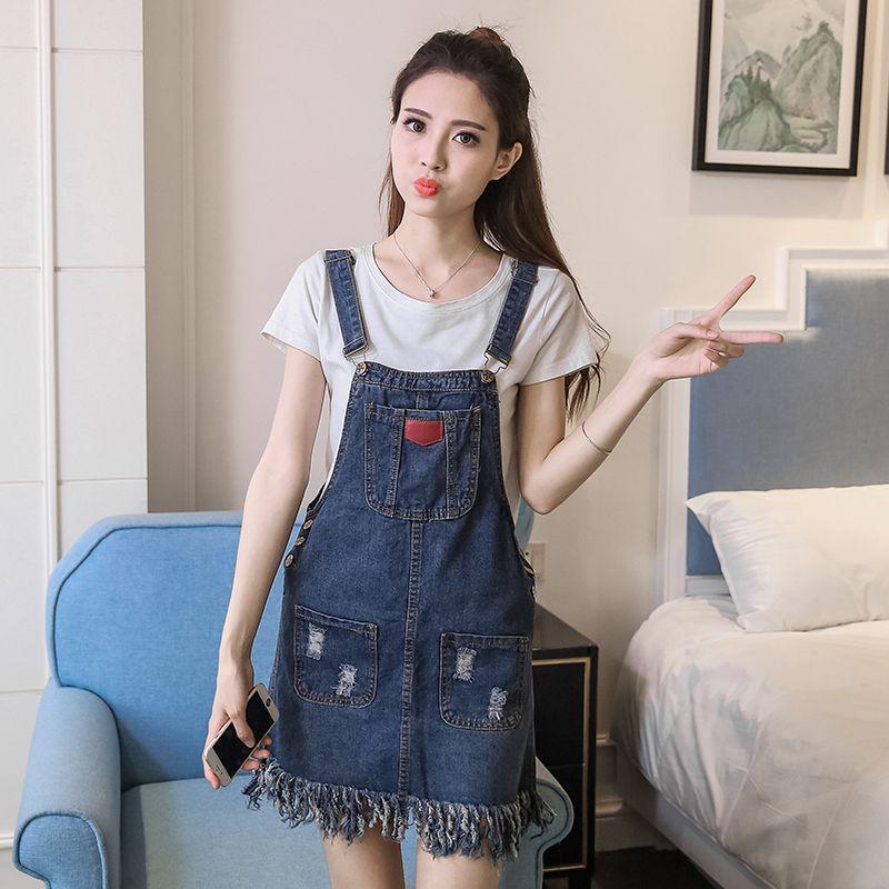 2017 Spring Summer Womens Strap Denim Dress Casual Fashion Slim