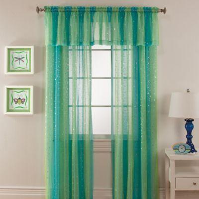 Mermaid Rod Pocket Window Curtain Panel In Aqua