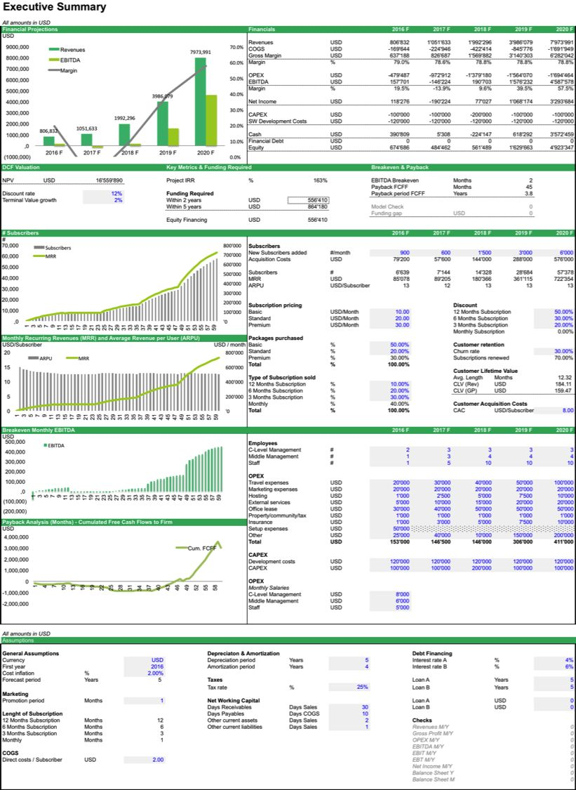 The excellent Business Valuation Spreadsheet Microsoft