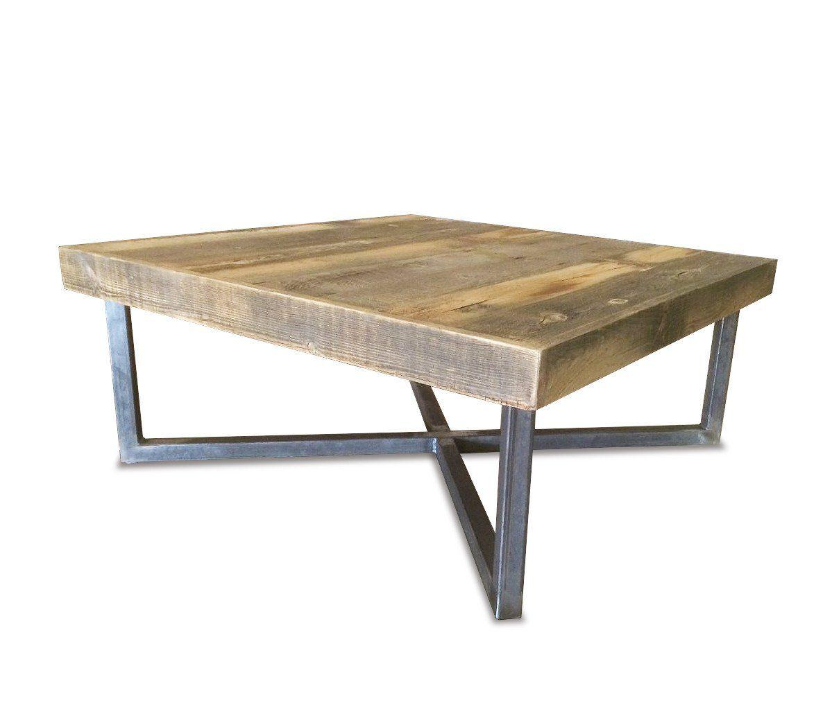 Reclaimed Wood Coffee Table Tube Steel Legs Free Shipping Jw