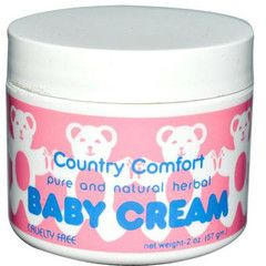 Description  Country Comfort Baby Cream Description: Pure and Natural Herbal Baby Cream Cruelty Free Not Animal Tested Use our gentle cream to soothe and protect delicate skin 2 Ounce Cream Baby Cream is pure and natural and helps to sooth and protect delicate skin and can also be used for roughness on elbows, knees, feet and face of mature skin.
