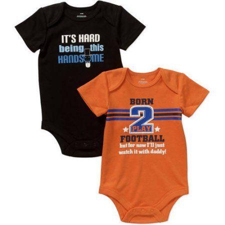 Newborn Baby Boys' Attitude Bodysuits, 2-Pack, Newborn Boy's, Size: 0 - 3 Months, Beige