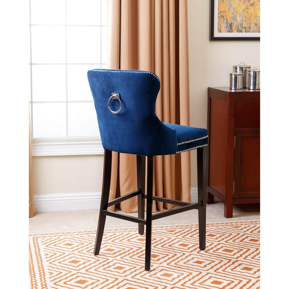 Abbyson Versailles 30 Inch Navy Blue Tufted Bar Stool In 2020 Bar Stools Upholstered Bar Stools Blue Bar Stools