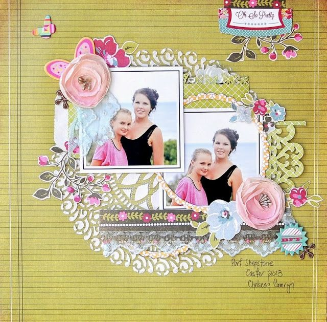 note to self: love this amazing layout..the beautiful embellishment, the bright colour, doily and the superb arrangement of the photo placement..