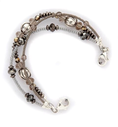 Women S Medical Id Alert Bracelets With Beads And Gray