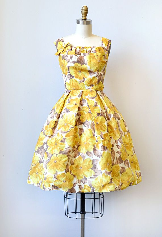 06cbe49633b vintage 1950s yellow floral dress with shelf bust