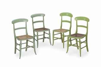 FOUR VICTORIAN GREEN-PAINTED AND CANED SIDE CHAIRS,  ALMOST CERTAINLY SUPPLIED FOR THE ROYAL PAVILION AT ALDERSHOT CAMP, LATE 19TH CENTURY, Christies Interiors Sale