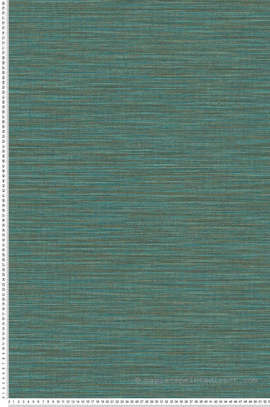 Papier peint Paille japonaise émeraude cuivre   collection Wara de
