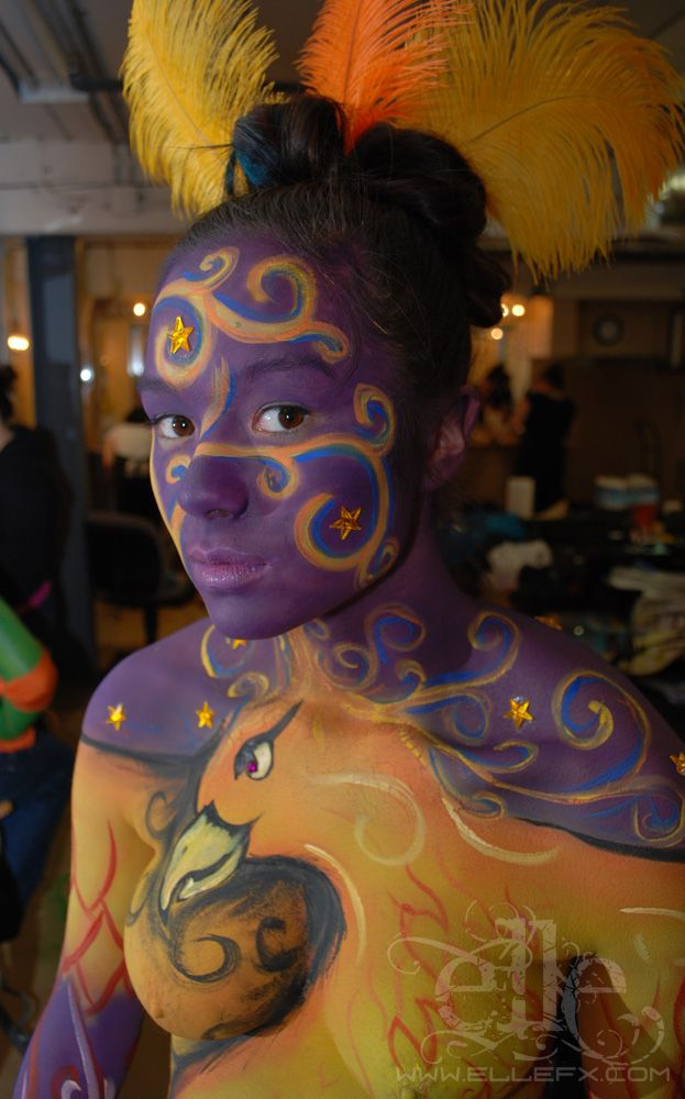 purple and yellow flaming phoenix body paint face ellefx. Black Bedroom Furniture Sets. Home Design Ideas
