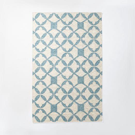 Tile Wool Kilim Rug - Aquamarine