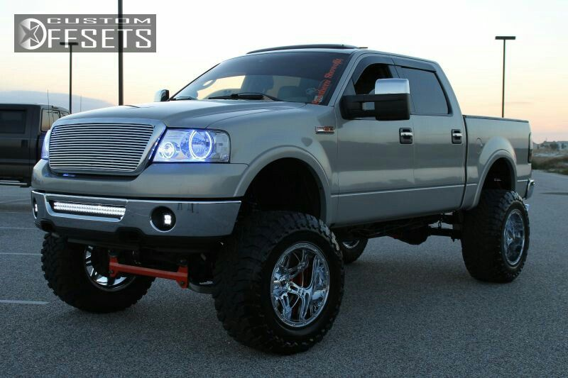 Jacked Up Ford F150 With The Holy Blue Halos And Those Giant