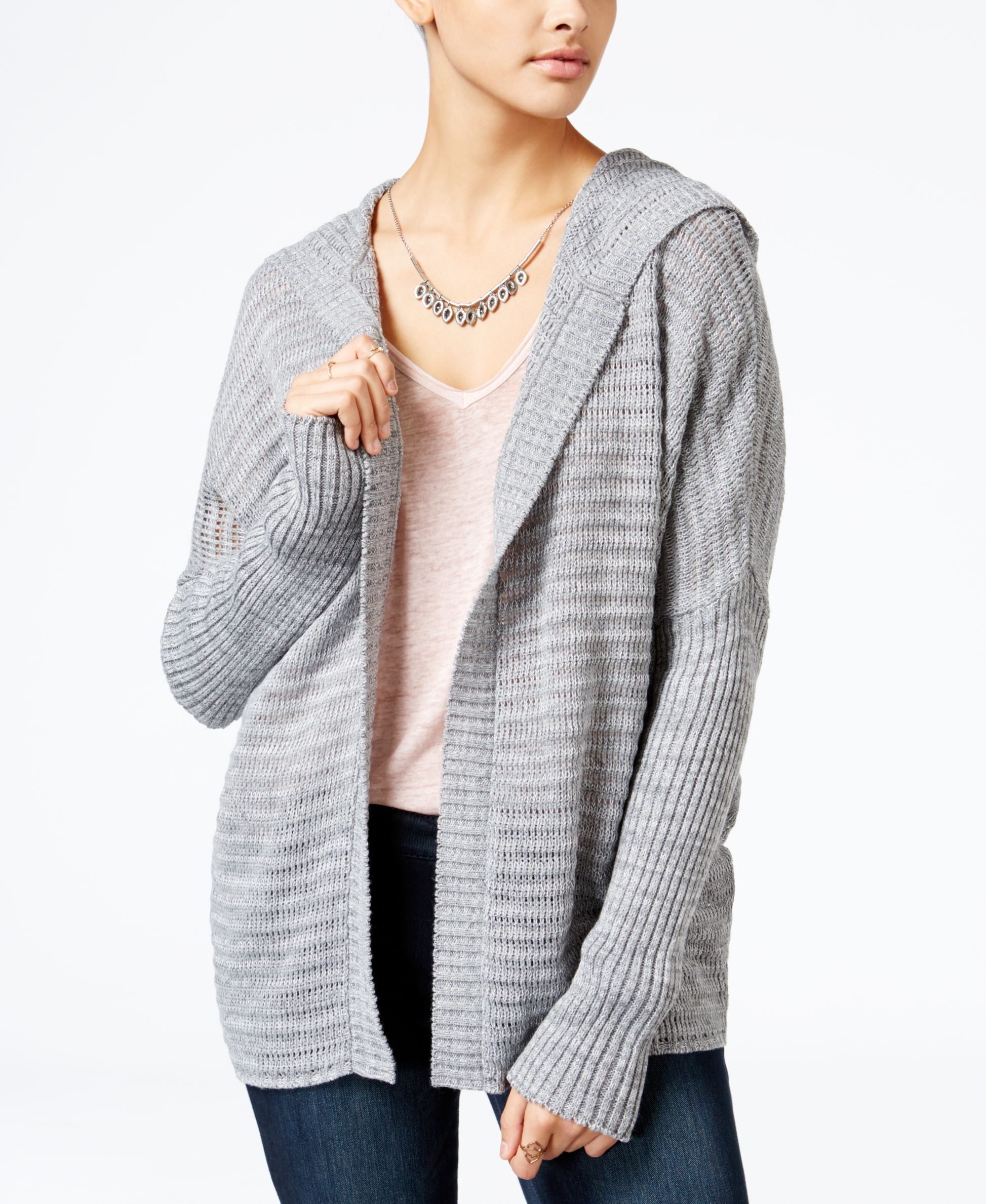 American Rag Lace-Up-Back Hooded Cardigan, Only at Macy's ...