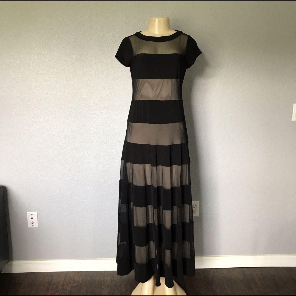 Long Striped Mesh Dress