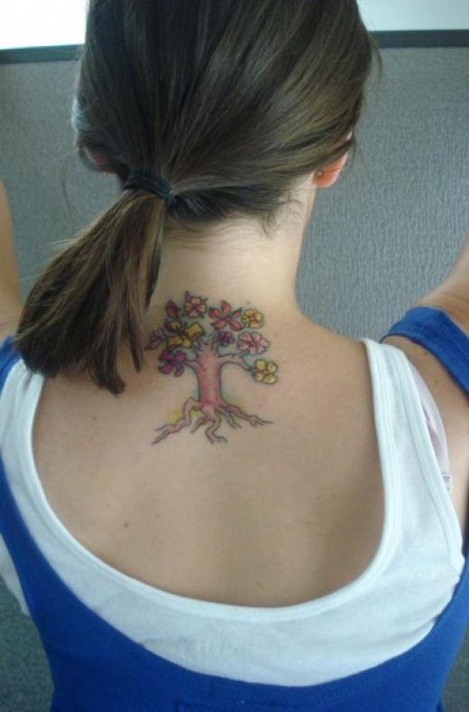 Girls Cherry Blossom Tree Tattoos Girl Neck Tattoos Tiny Tree Tattoo Tree Tattoo Designs