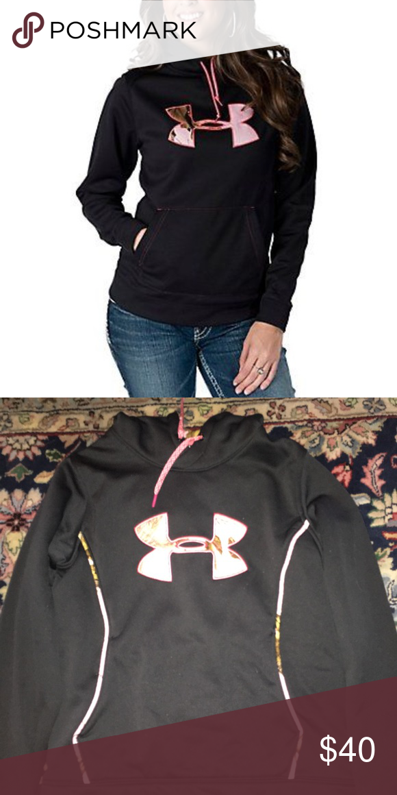Under Armour pink camo logo hoodie Lightly used and