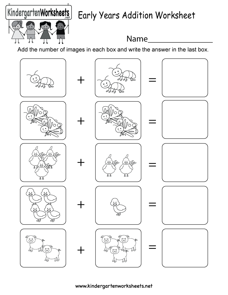 This is an image addition worksheet for preschoolers or ...