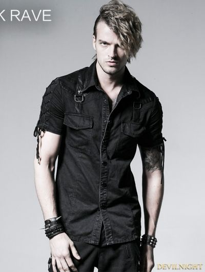 9433c2e789ac5 Black Gothic Punk Male Rope-tieing Short Sleeves Shirt