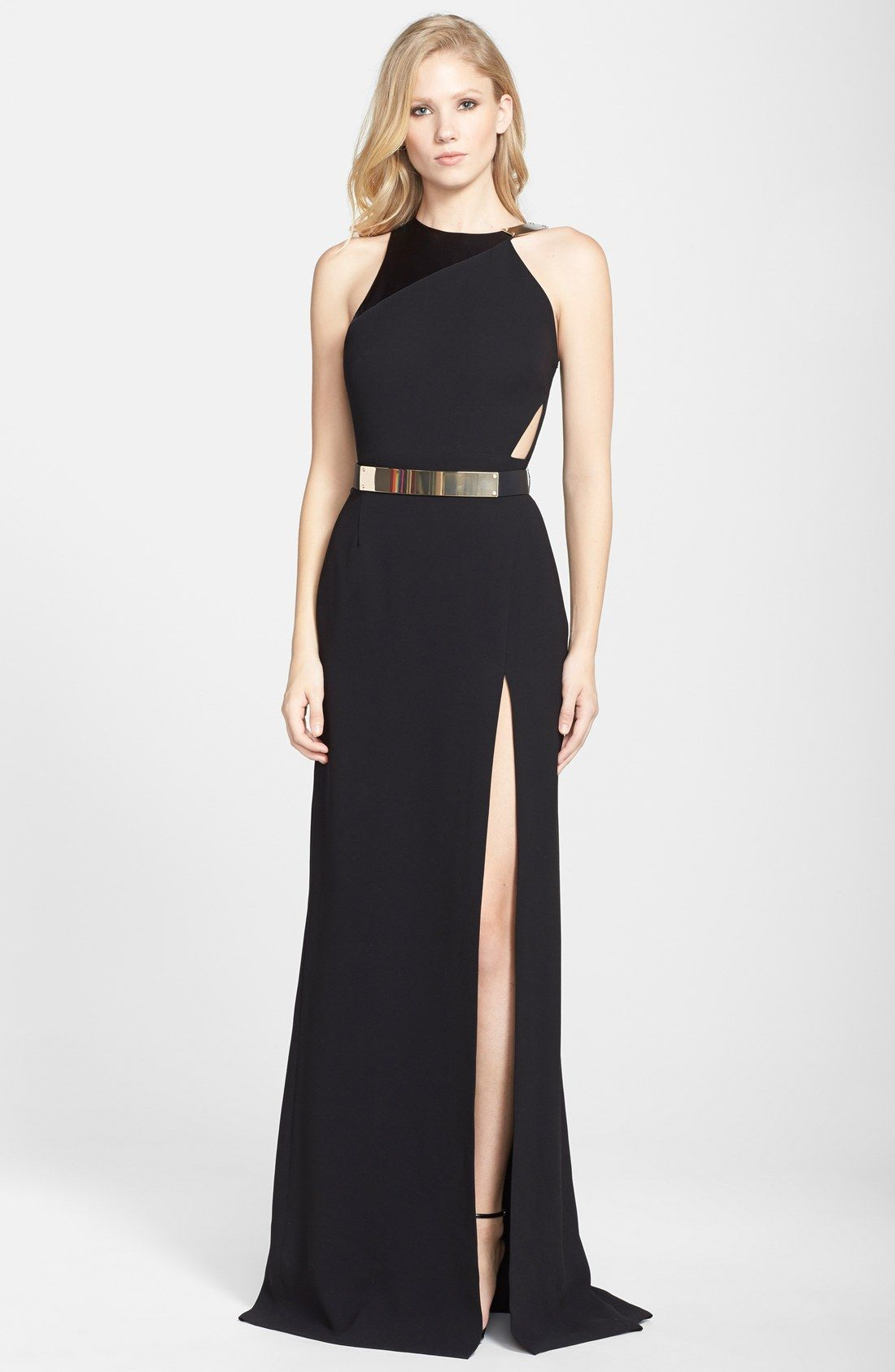 Halston Heritage Belted Asymmetrical Crepe Gown | Clothings ...