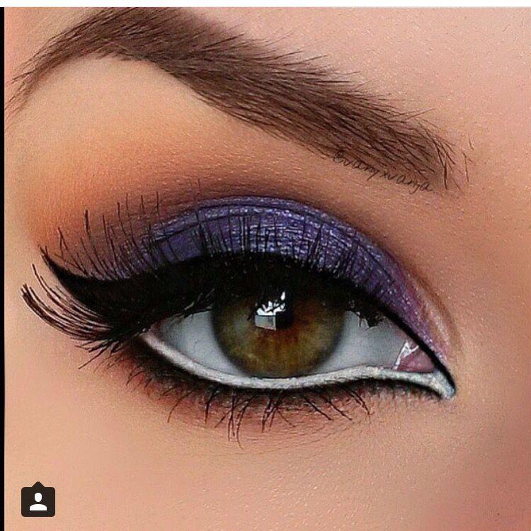 Dramatic bold purple eye make up