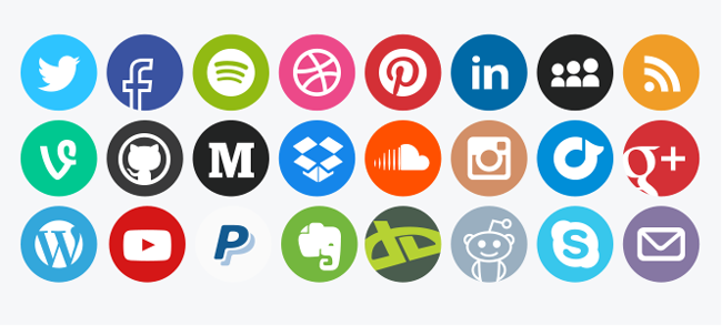 Social media vector icons rounded (PSD) white background