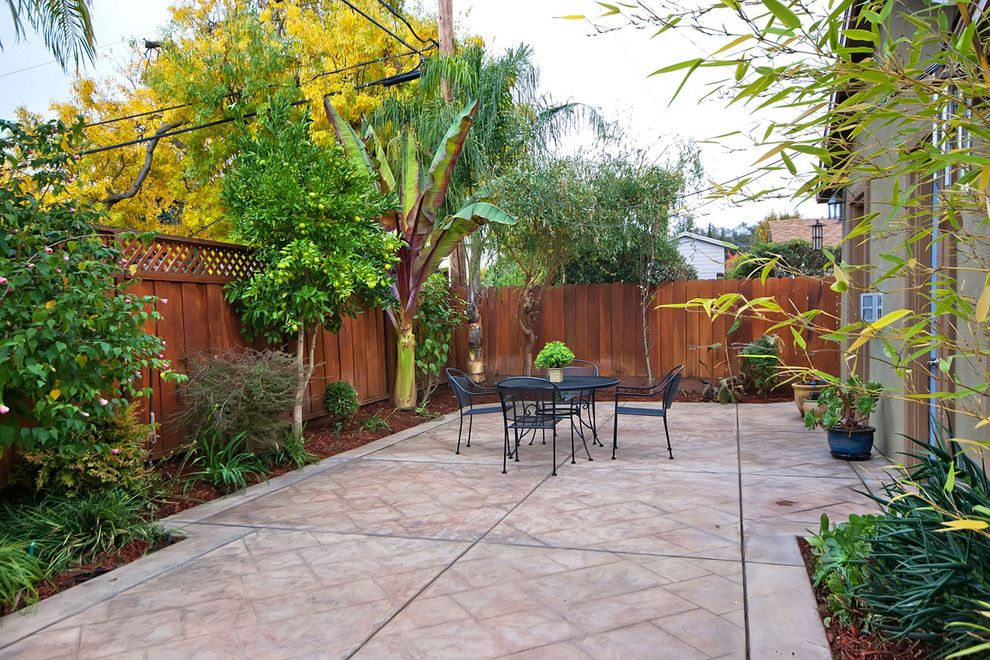 Inspired Stamped Concrete Patio Trend San Francisco Traditional Patio  Innovative Designs With Backyard Dining Area Enclosed