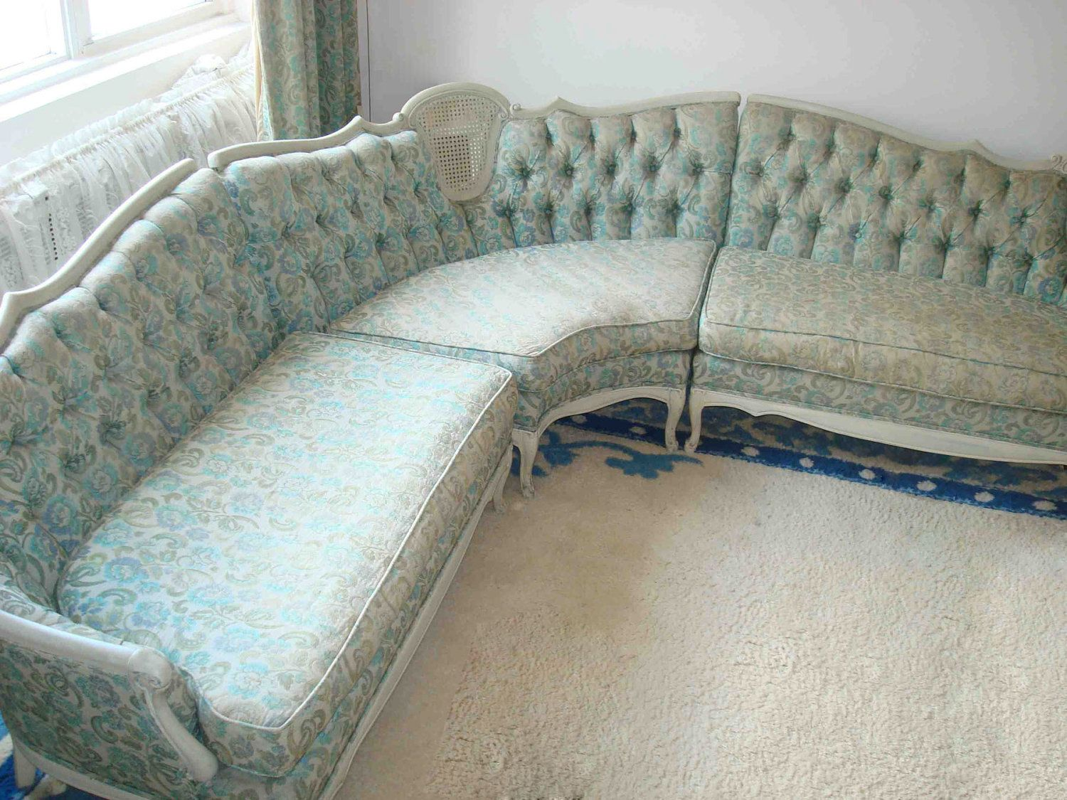 Queen Anne Couch And Loveseat Sofa Victorian French Provincial Hollywood Regency
