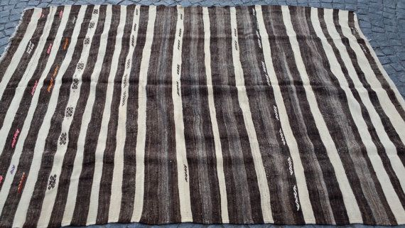75x103 inches or 190x262cm Anatolian handwoven vintage kilim rug,striped Anatolian Tribal kilim rug