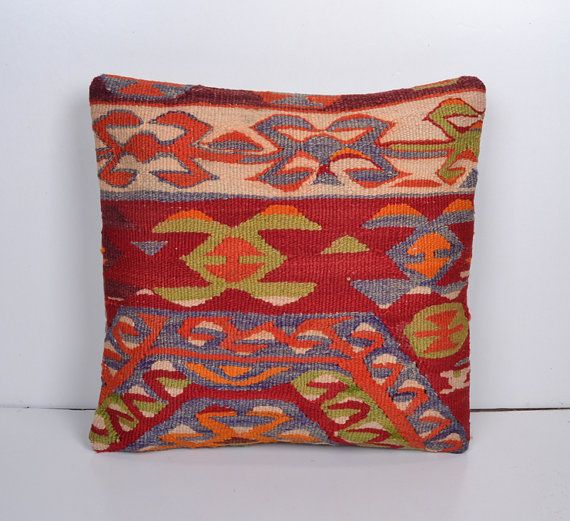 Ethnic Pillow Kilim Cushion cover Bohemian Euro by PillowsHistoric