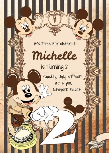 Free Mickey Mouse Birthday Invitations Template Chevron Edition Mickey Mouse Birthday Invitations Mickey Mouse Invitation Mickey Mouse Invitations