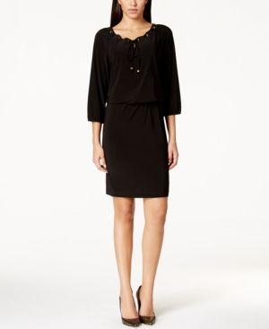 Nine West Grommet-Trim Blouson Dress - Black 10