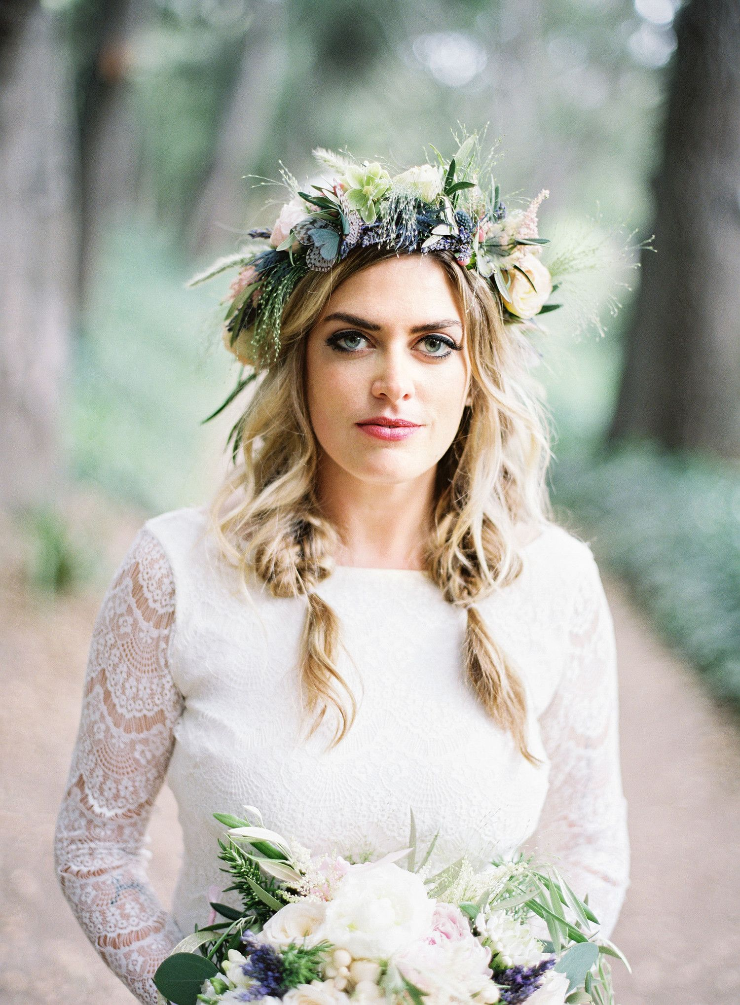 68 flower crown ideas to complete your wedding hairstyle boho instead of a traditional veil this bride opted to add a beautiful flower crown to her bridal look the arrangement made by rosemary duff florist izmirmasajfo
