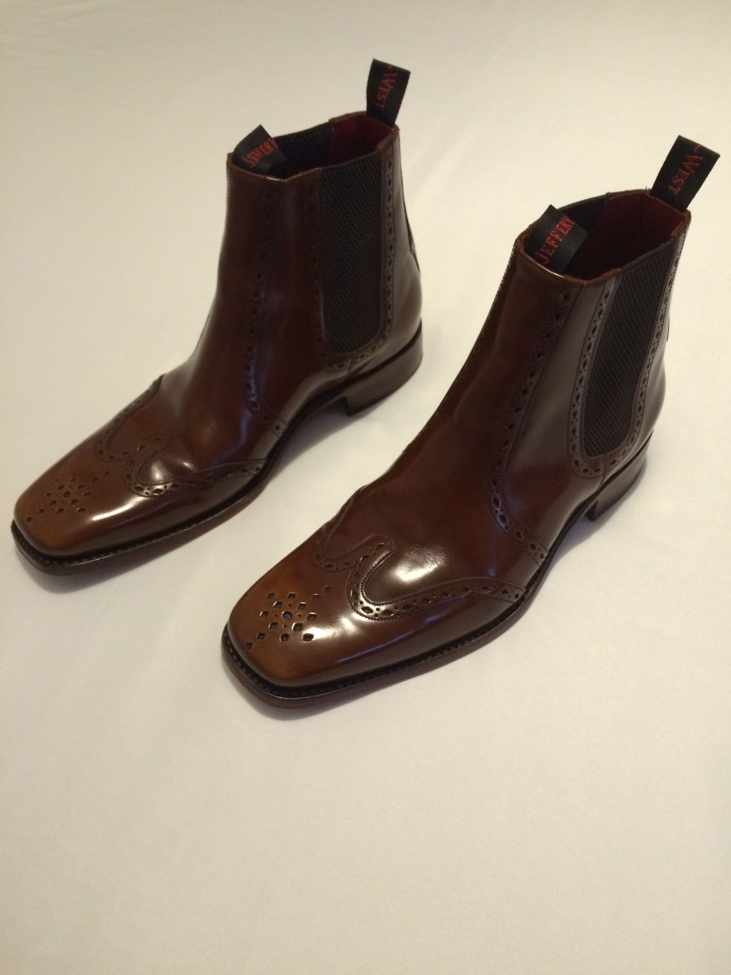 3537804484649 Very nice Jeffery West mens brogue leather chelsea boots in excellent  condition. No rips or tears; only minor creases on both shoes (top, where  the shoe ...